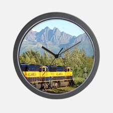 Alaska Railroad locomotive engine & mou Wall Clock