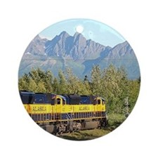 Alaska Railroad locomotive engine Ornament (Round)