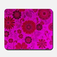 Bright Pink Retro Flowers Mousepad