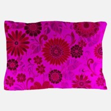 Bright Pink Retro Flowers Pillow Case
