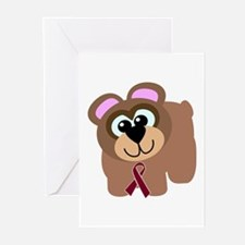 Burgundy Awareness Ribbon Bear Greeting Cards (Pac