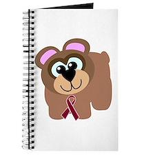 Burgundy Awareness Ribbon Bear Journal