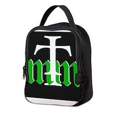 three merry men green on black Neoprene Lunch Bag