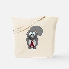Burgundy Awareness Ribbon Squirrel Tote Bag