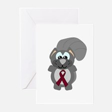 Burgundy Awareness Ribbon Squirrel Greeting Cards