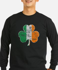 Vintage Irish Flag Shamrock Long Sleeve T-Shirt