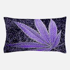 Purple Cannabis Leaf Pillow Case