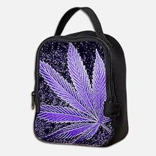 Purple Cannabis Leaf Neoprene Lunch Bag