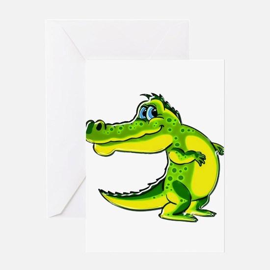 Flirting Crocodile Greeting Cards