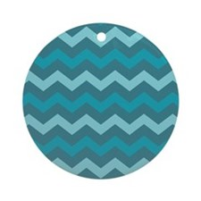 Teal Shades Chevron Pattern Ornament (Round)