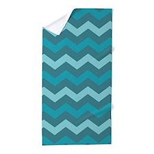 Teal Shades Chevron Pattern Beach Towel