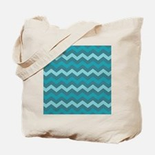 Teal Shades Chevron Pattern Tote Bag