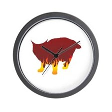 Pixie-Bob Flames Wall Clock