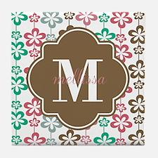 Colorful Retro Flowers Custom Monogra Tile Coaster