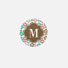 Colorful Retro Flowers Custom Monogram Mini Button