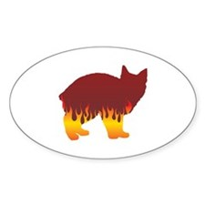 Manx Flames Oval Decal