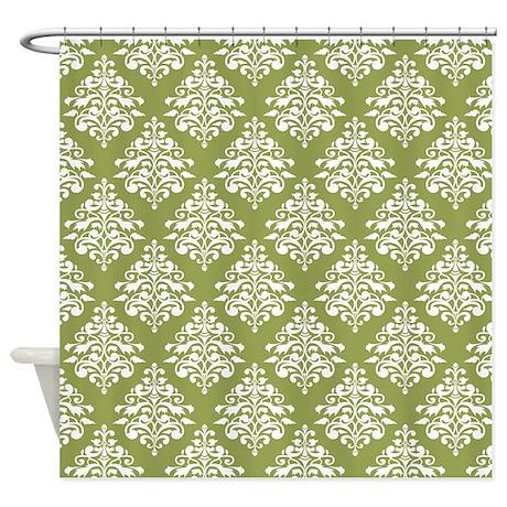 damask olive green shower curtain