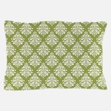 Damask Olive Green Pillow Case