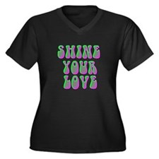 Shine Your Love Women's Plus Size V-Neck Dark T-Sh