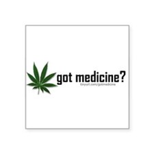 "Cute Medical marijuana Square Sticker 3"" x 3"""
