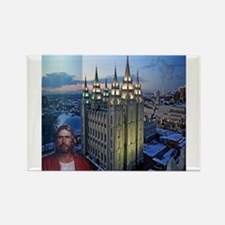 Jesus in front of salt lake city temple Magnets