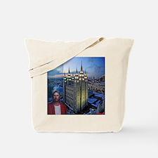 Jesus in front of salt lake city temple Tote Bag