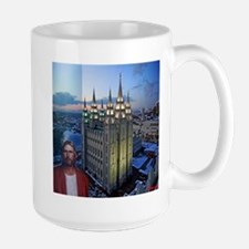 Jesus in front of salt lake city temple Mugs
