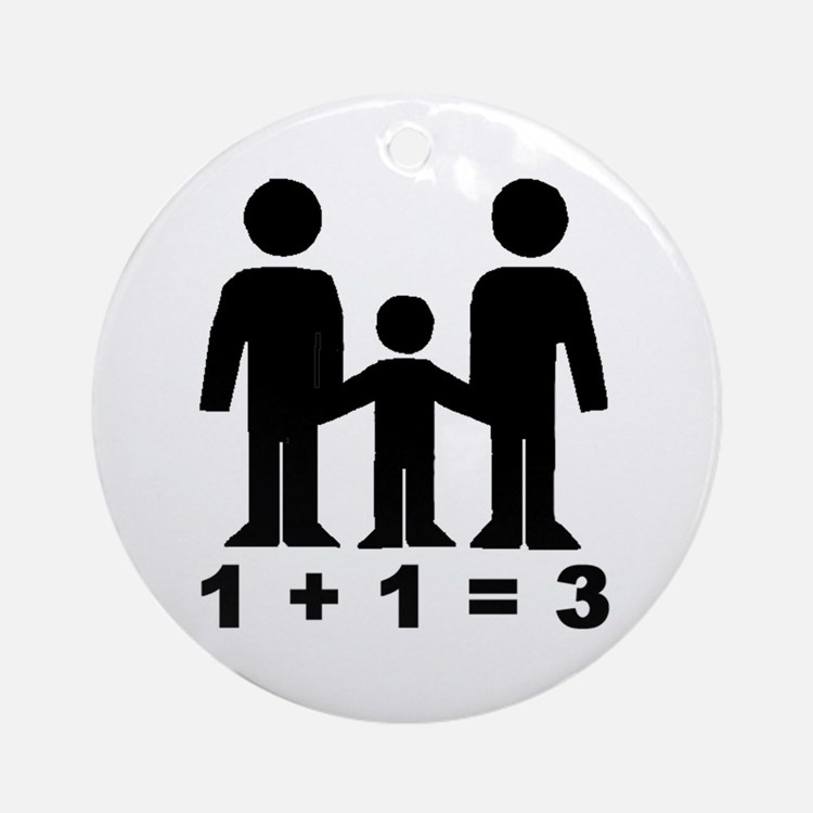 1 + 1 = 3 (graphic of family) Round Ornament