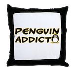 Penguin Addict Throw Pillow
