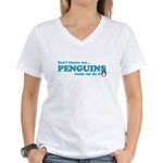Blame Penguins Women's V-Neck T-Shirt