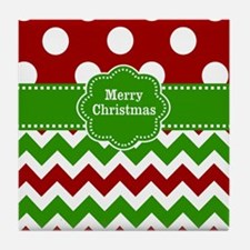 Red Green Christmas Tile Coaster