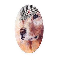 Crimson Canine Oval Car Magnet