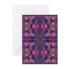 Magenta Stained Glass Cross Greeting Cards (10 Pk)