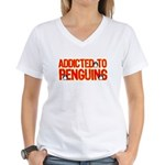 Addicted to Penguins Women's V-Neck T-Shirt