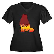 Curl Flames Women's Plus Size V-Neck Dark T-Shirt