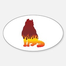 Curl Flames Oval Decal