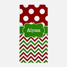 Red Green Dots Chevron Personalized Beach Towel
