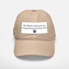 Wrapped Around Her Paw (Black Lab) Baseball Baseball Cap