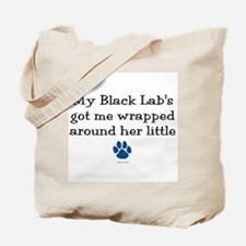 Wrapped Around Her Paw (Black Lab) Tote Bag