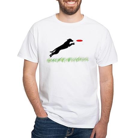 Labrador Dog Red Disc White T-Shirt