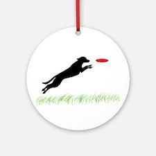 Labrador Dog Red Disc Ornament (Round)