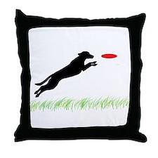 Labrador Dog Red Disc Throw Pillow
