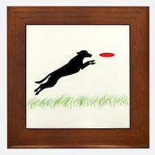 Labrador Dog Red Disc Framed Tile