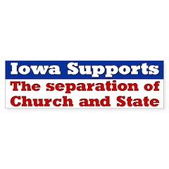 Iowa Church and State Bumper Bumper Sticker