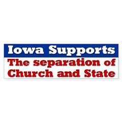 Iowa Church and State Bumper Bumper Sticker