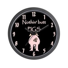 Nothin' Butt Pigs Wall Clock