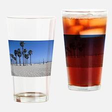 Santa Monica Beach Palm Trees Drinking Glass
