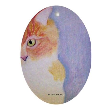Peeking Sonny Cat Oval Ornament