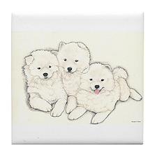 Samoyed Puppies Tile Coaster