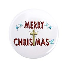 "Merry Christmas with Cross 3.5"" Button"